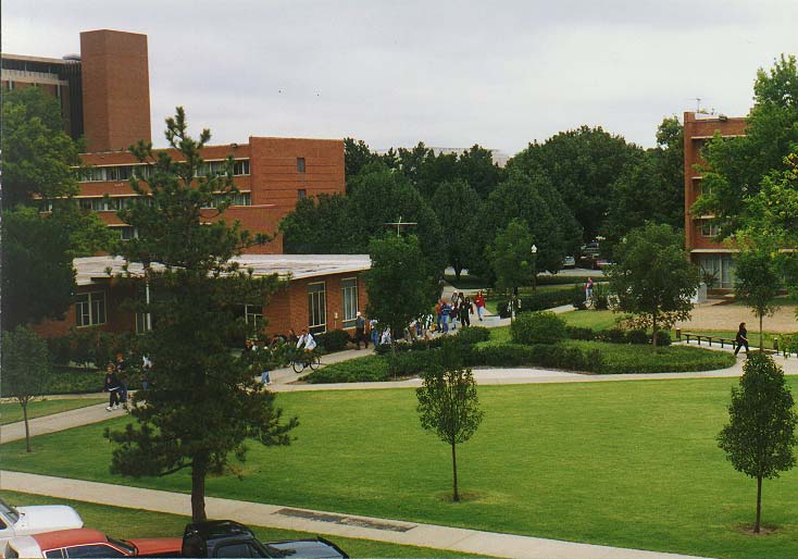 OU campus: University Blvd., the library, Cate Center, Duck Pond