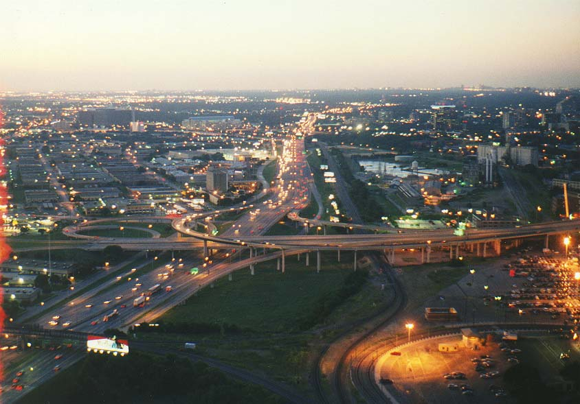 Dallas-a trip to New Mexico mountains  - views from Reunion Tower at evening