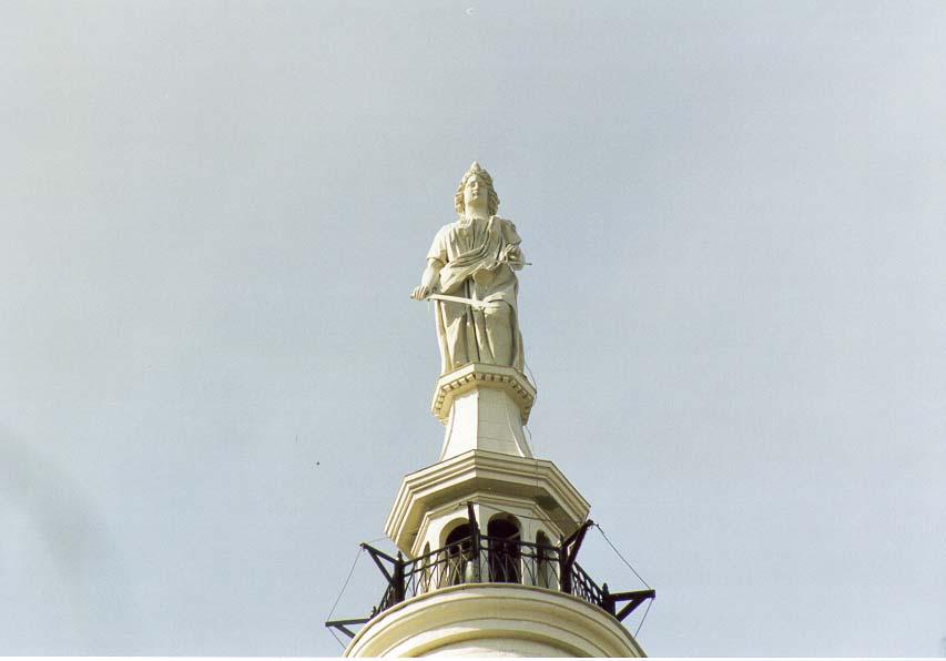 A statue at the top of Tippecanoe County Court House. Lafayette, Indiana