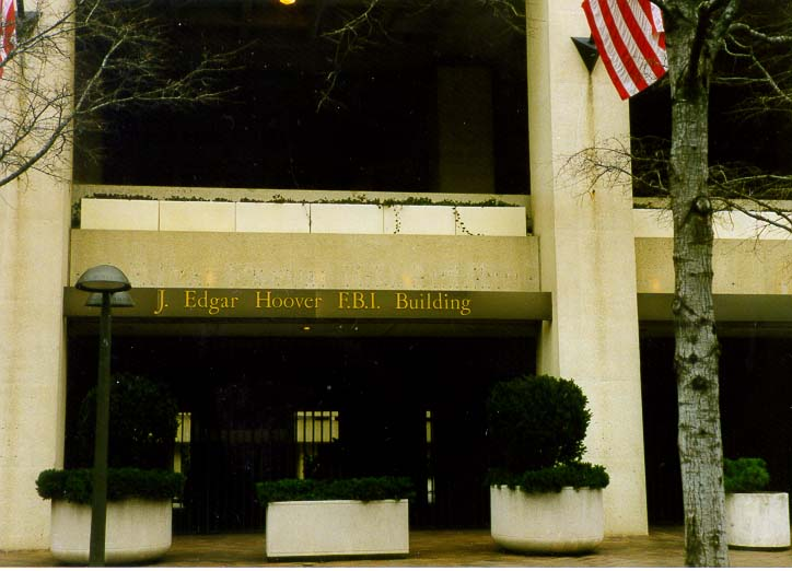 Entrance to a bunker-like J. Edgar Hoover F.B.I. Building. Washington DC