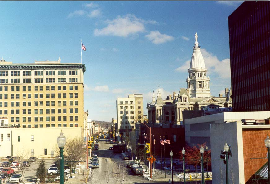 View of Tippecanoe Courthouse and the downtown from Big Four Depot. Lafayette, Indiana