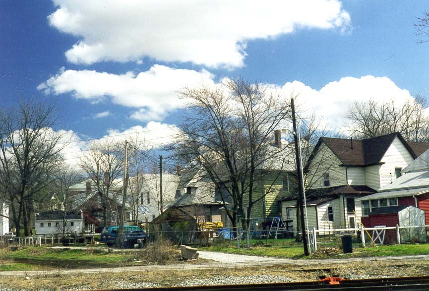 View of houses across railroad from Erie St.. Lafayette, Indiana