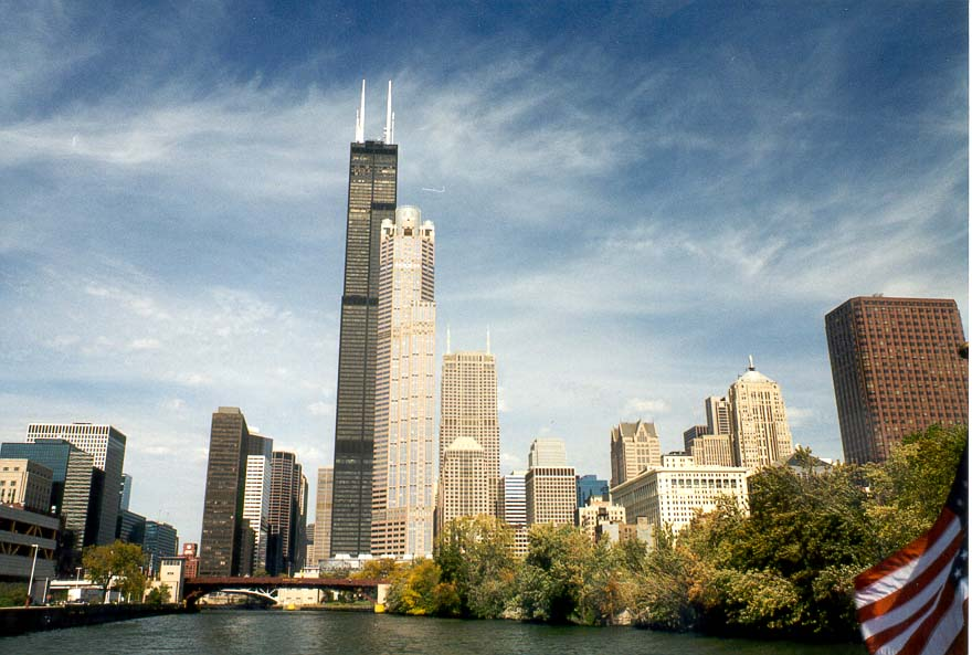 Chicago IL  - Chicago River and Sears Tower. Chicago
