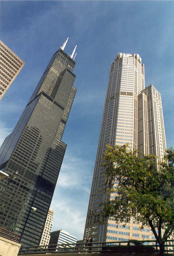 Sears Tower and neighbor buildings, view from Chicago River. Chicago