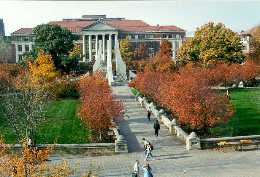 Purdue Mall, the fountain, and Hall of...University, West Lafayette, Indiana
