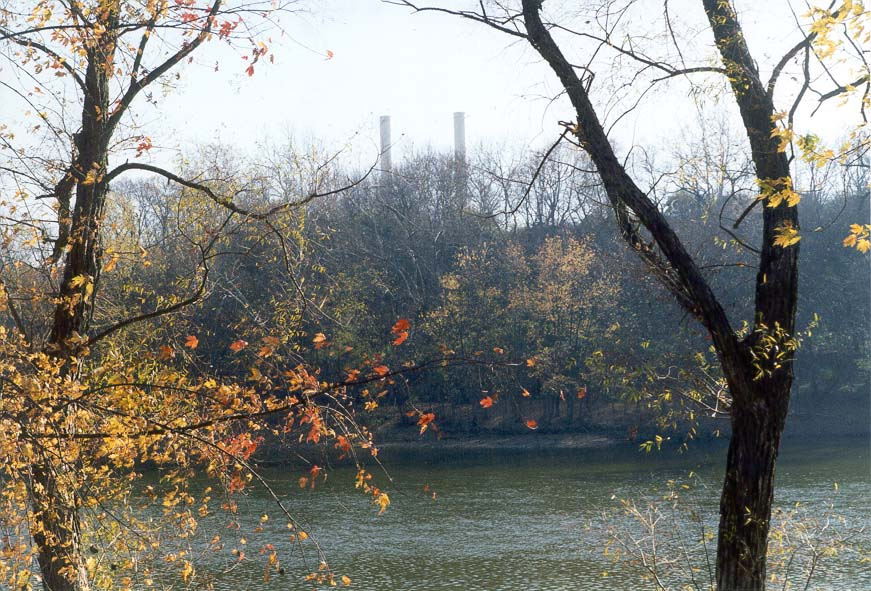 View of Wabash River from a trail to Fort Ouiatenon. Indiana