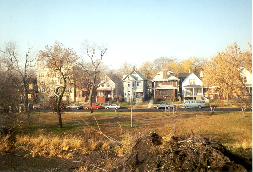 View of typical Chicago houses from Amtrak train