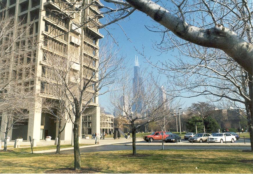 Campus of University of Illinois at Chicago, with...the left and Sears Tower at background