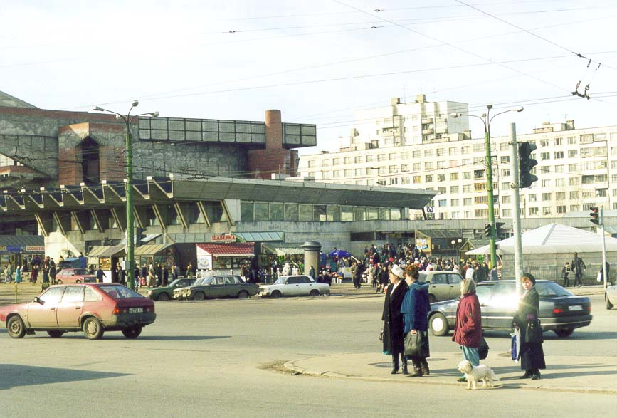 Crossing of Kolomiazhskiy Prospekt near subway station Pionerskaia. St.Petersburg, Russia