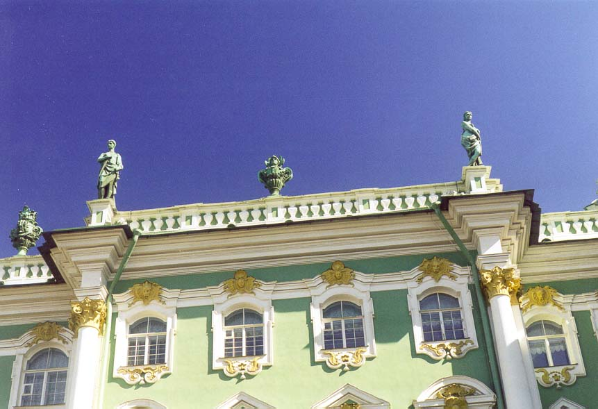 Sculptures at the roof of the Hermitage (Winter...Prospect. St.Petersburg, Russia