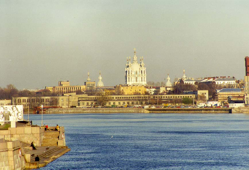 Smol'nyi Cathedral and monastery at a bend of Neva River in St.Petersburg, Russia