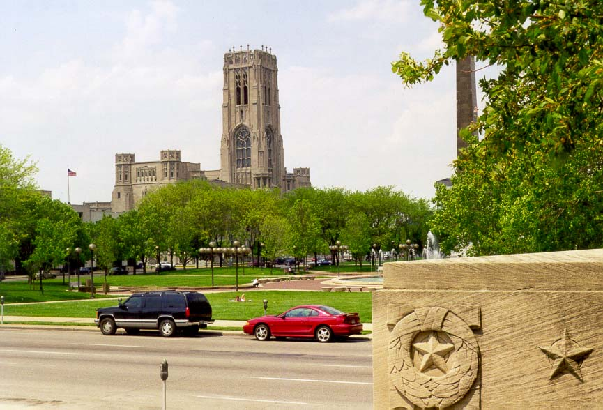 World War Memorial in Indianapolis (stars are...and Scottish Rite Cathedral. Indiana