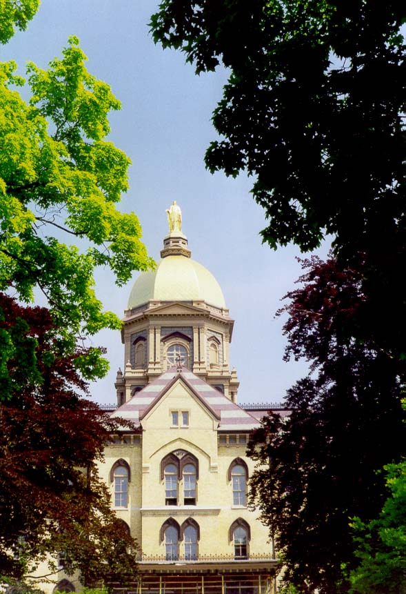 Golden Dome (administration building) at the University of Notre Dame. South Bend, Indiana