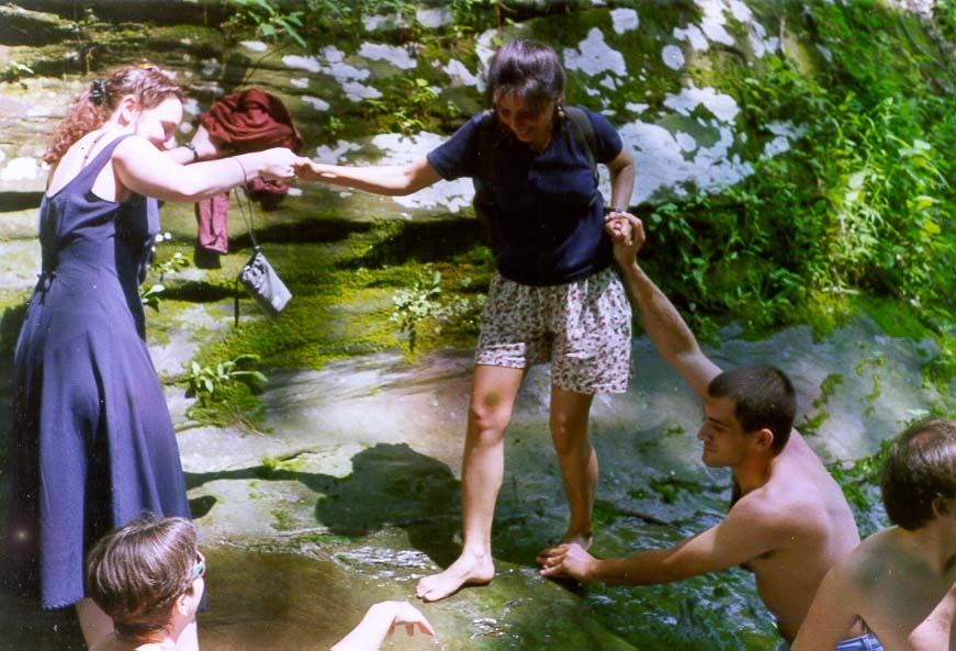Overcoming a tub in a creek in Potholes Park...University. Near Pine Village, Indiana