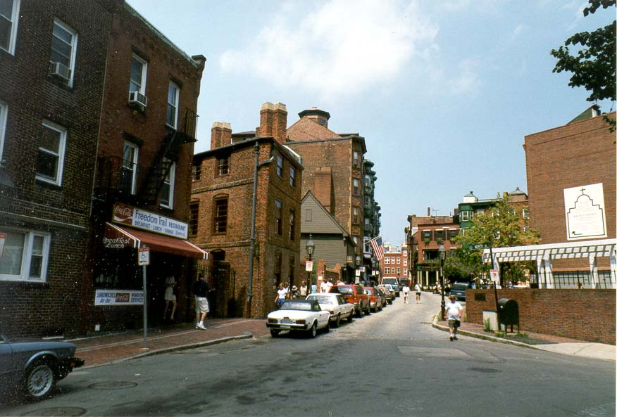 Paul Revere House (the second house on the left side) in Boston MA