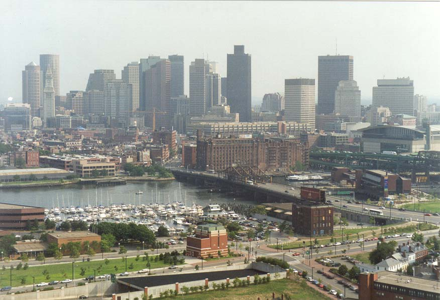View of Charles River and downtown Boston from...of Bunker Hill Monument. Massachusetts