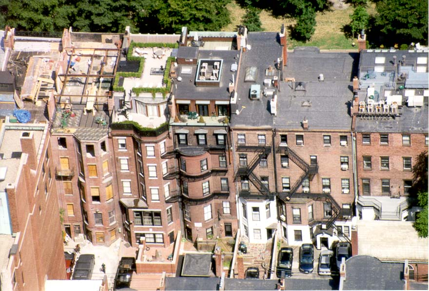View of gardens on roofs of houses at...Hancock Tower in Boston. Massachusetts