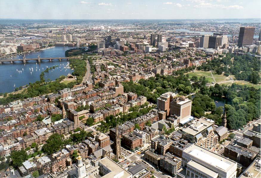 View of an area of Boston Public Garden north from Hancock Tower in Boston. Massachusetts