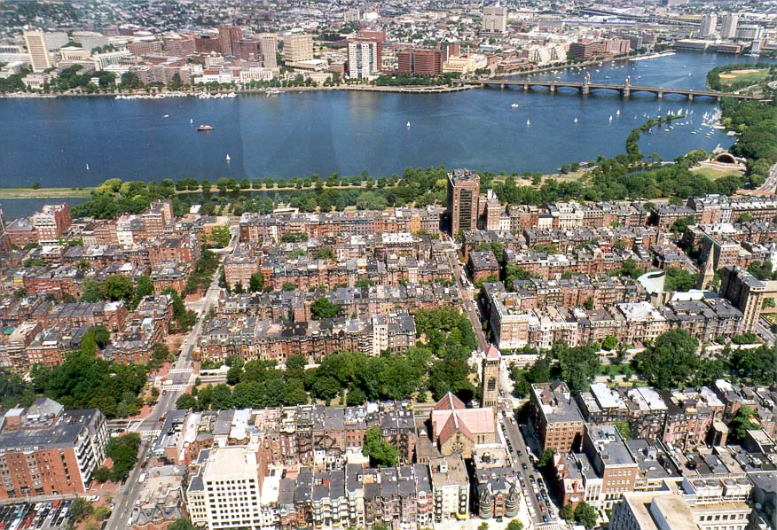 View of Back Bay, Charles River and Cambridge from Hancock Tower in Boston. Massachusetts