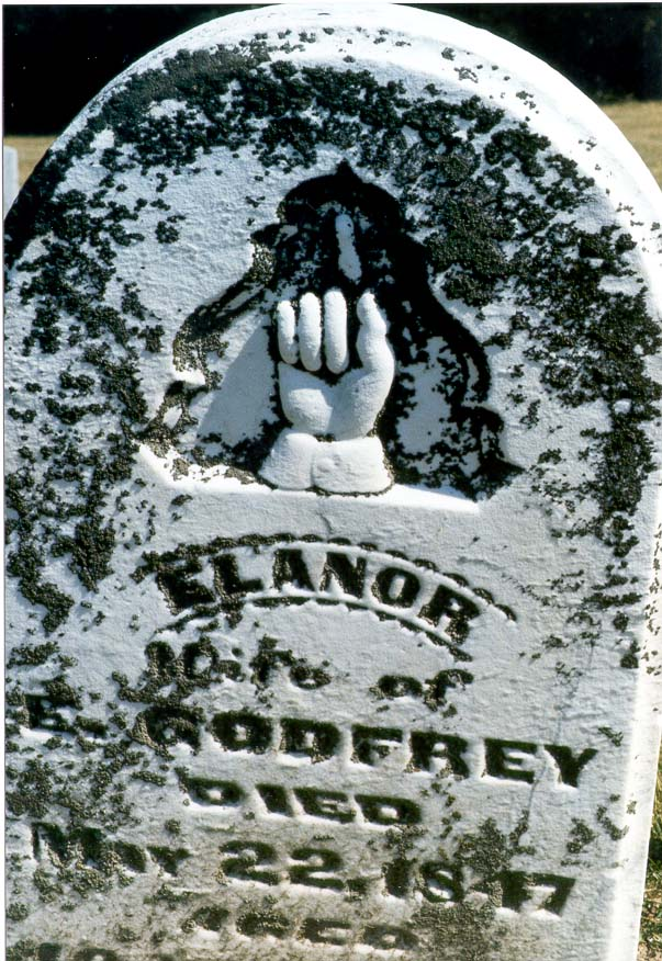 A mysterious sign on a marble grave of L. Godfrey...6 miles west from Lafayette, Indiana