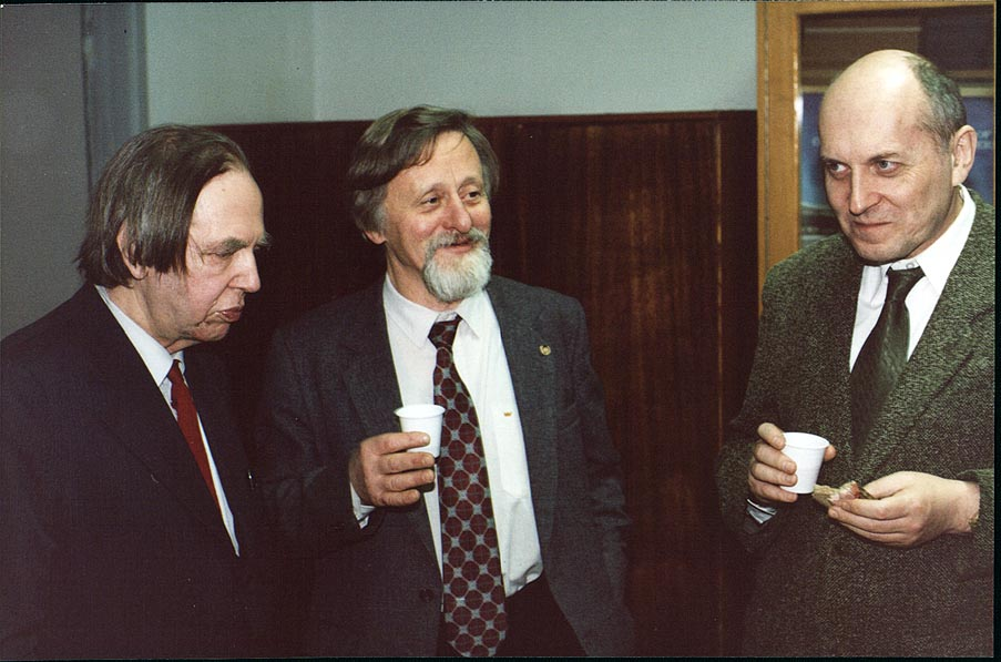 Demkov Yu. N., Manida S. N., and Braun P. A. at...University in Staryi Petergof, Russia
