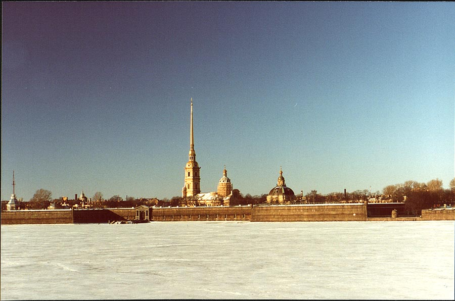 Peter and Paul Fortress behind Neva River. St.Petersburg, Russia