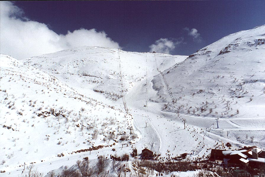 Skiing from Mount Hermon. Golan Heights, the Middle East