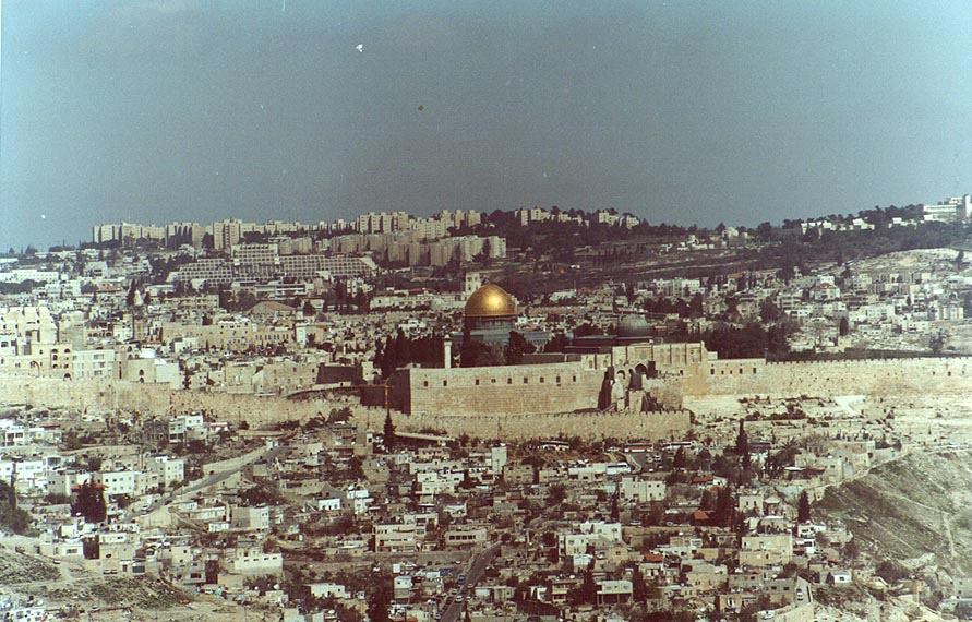 View of Old City in Jerusalem from south, with Dome of the Rock at center. The Middle East