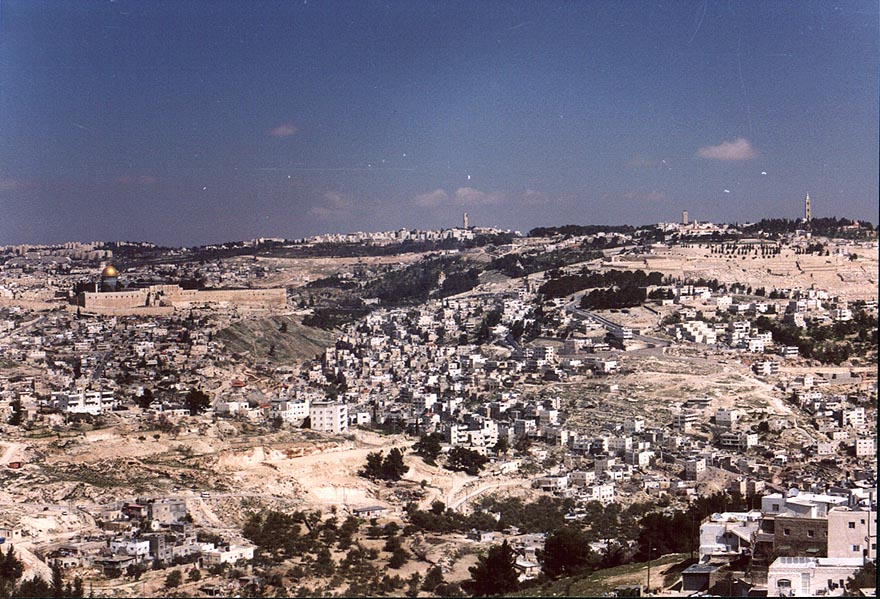 View of Old City in Jerusalem from south. The Middle East