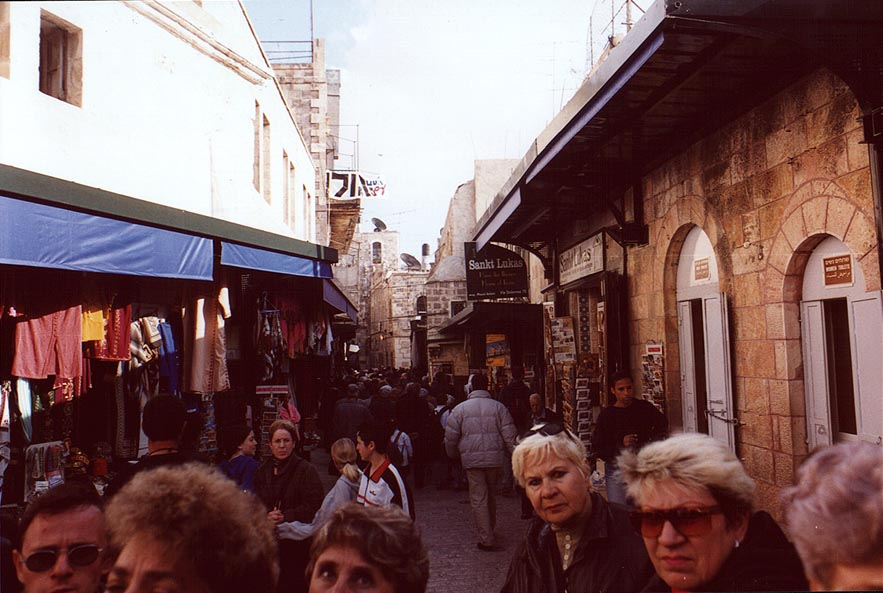 Via Dolorosa in Old City of Jerusalem. The Middle East