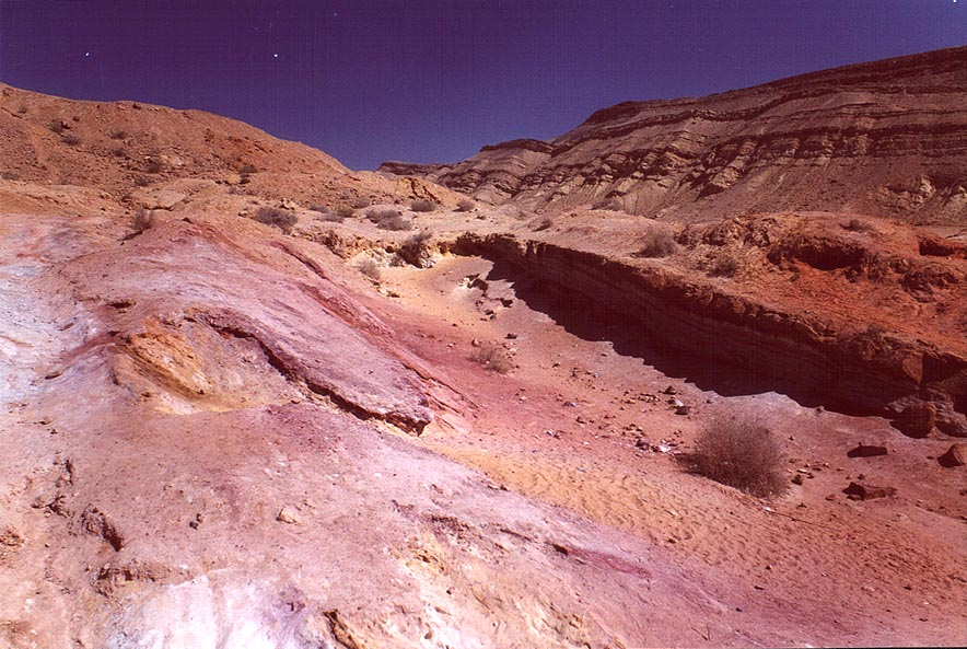 Multicolor sands in Big Crater (Makhtesh Gadol) in Negev Desert. The Middle East