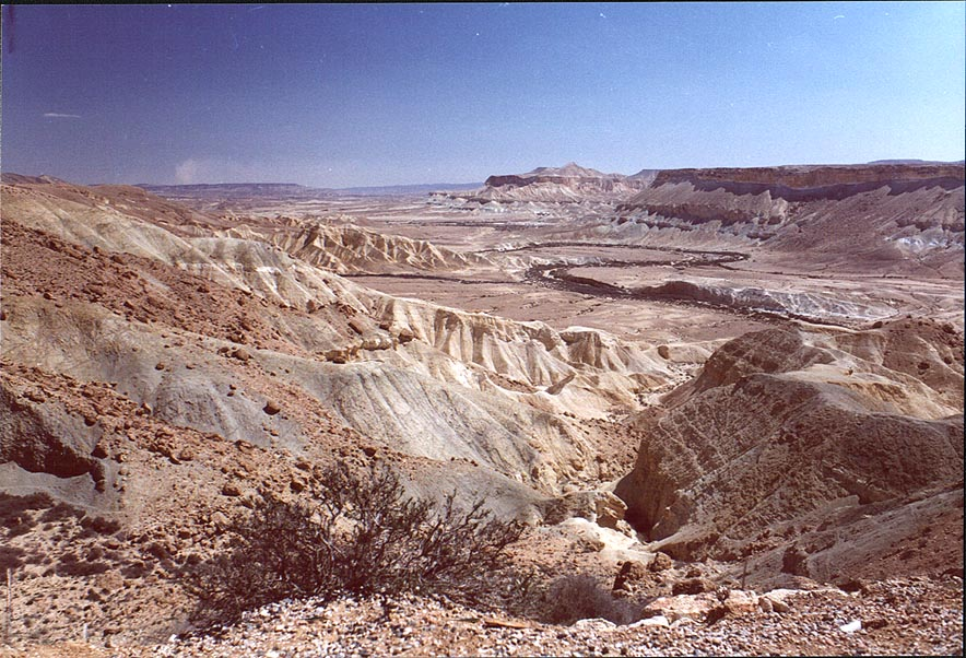 A river in Big Crater (Makhtesh Gadol) in Negev Desert. The Middle East
