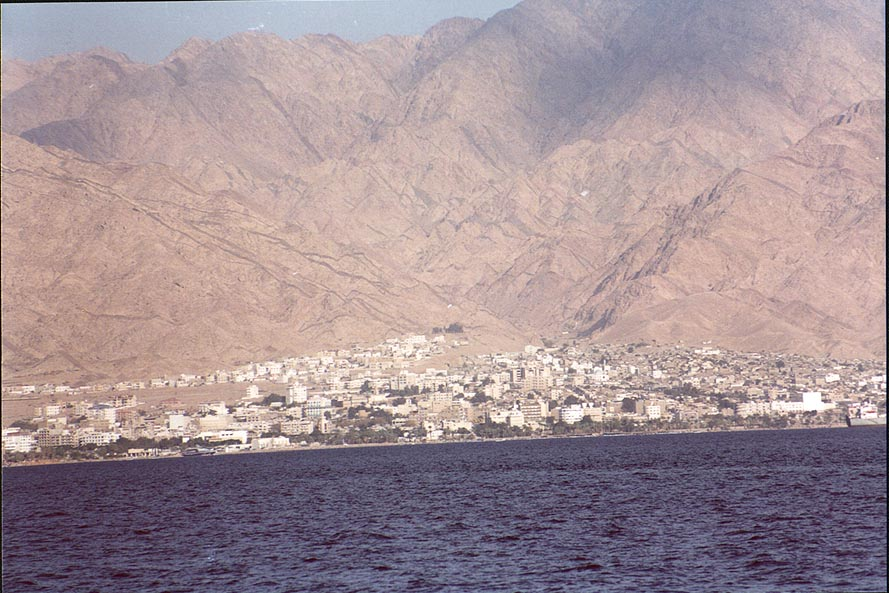Aqaba, a city 2 miles east from Eilat in Jordan. The Middle East