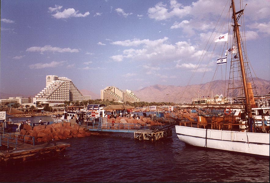 A harbor and hotels in Eilat. The Middle East