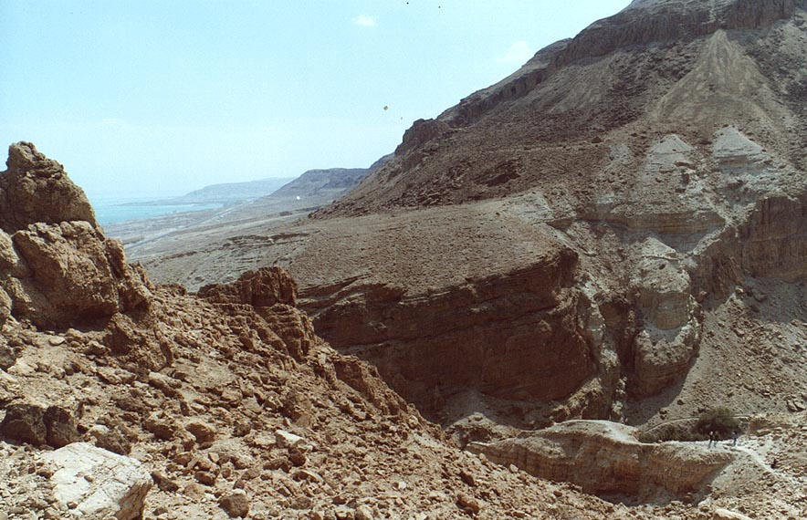 View of the canyon and Dead Sea from Maale Bokek ascent. The Middle East