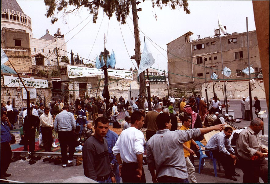 Muslim gathering on a place of future building of the mosque in Nazareth. The Middle East