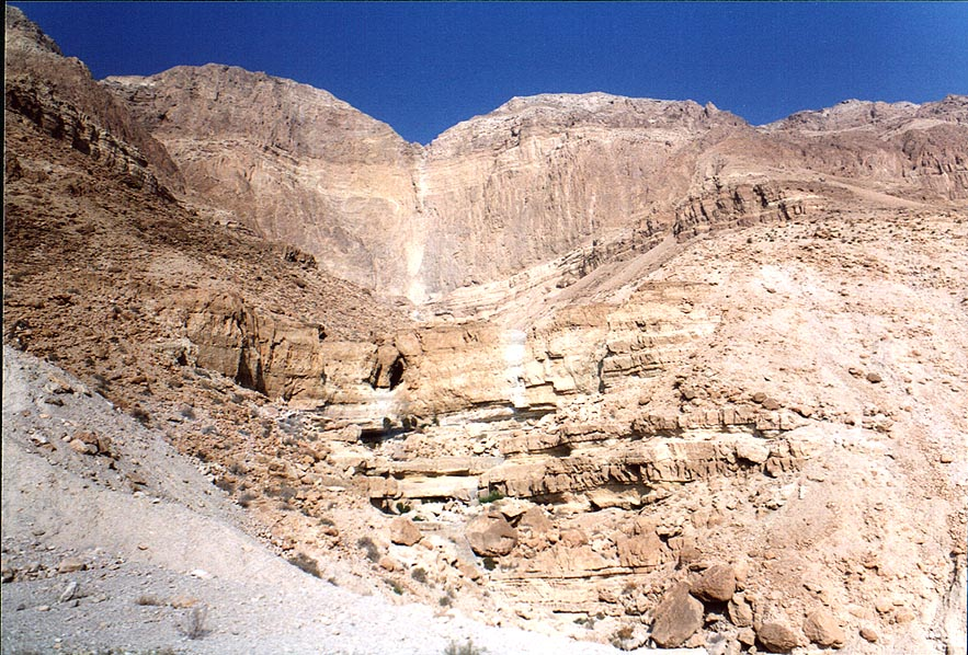View of dry waterfalls from a road along Dead Sea. The Middle East