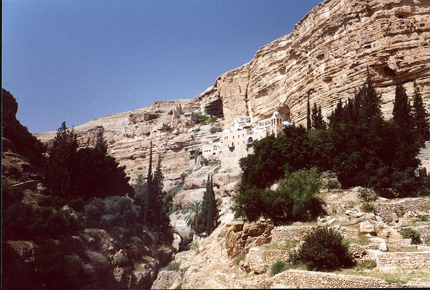 St.George Monastery in a canyon of Wadi Kelt River, near Jericho. The Middle East