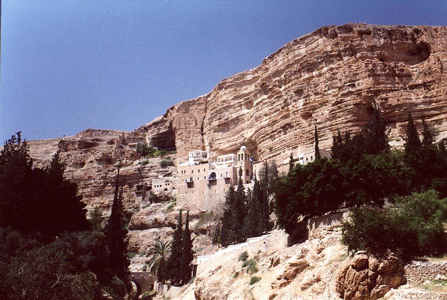 In St.George Monastery in a canyon of Wadi Kelt River, near Jericho. The Middle East