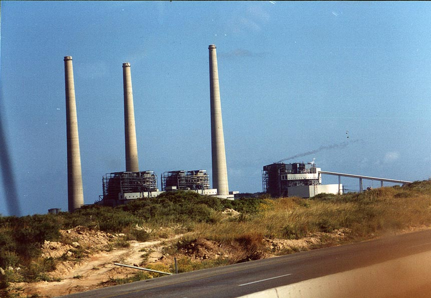 Smoke pipes of Hadera power station. The Middle East
