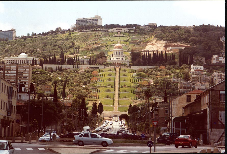 Bahai temple on Mount Carmel in Haifa, view from the highway. The Middle East