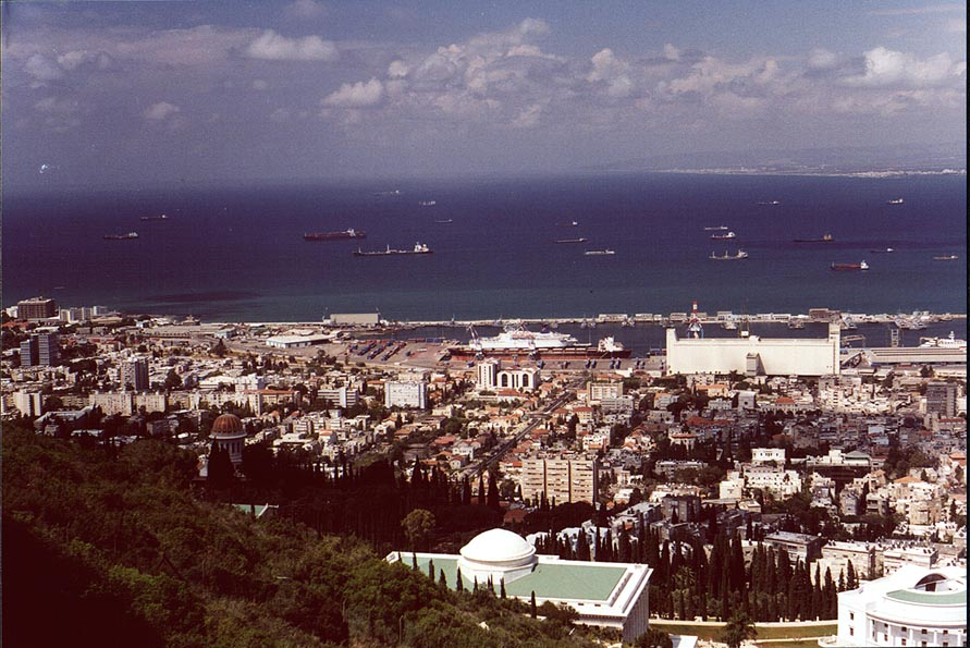 Haifa, Bahai temple and Mediterranean Sea from Mount Carmel. The Middle East