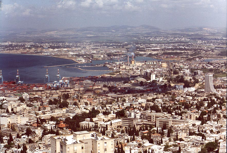Haifa harbor from Mount Carmel. The Middle East