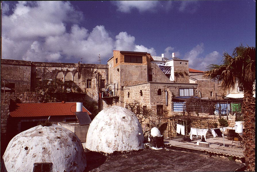 Turkish bath-house in Old City of Akko, view from embankment. The Middle East