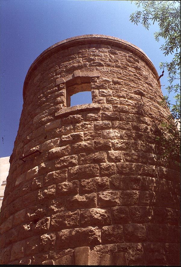 Old Turkish railroad water tower situated among...St.. Beer-Sheva, the Middle East