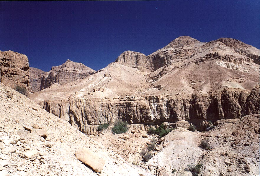 View of David Creek canyon from a trail to Shulamit spring in Ein Gedi. The Middle East