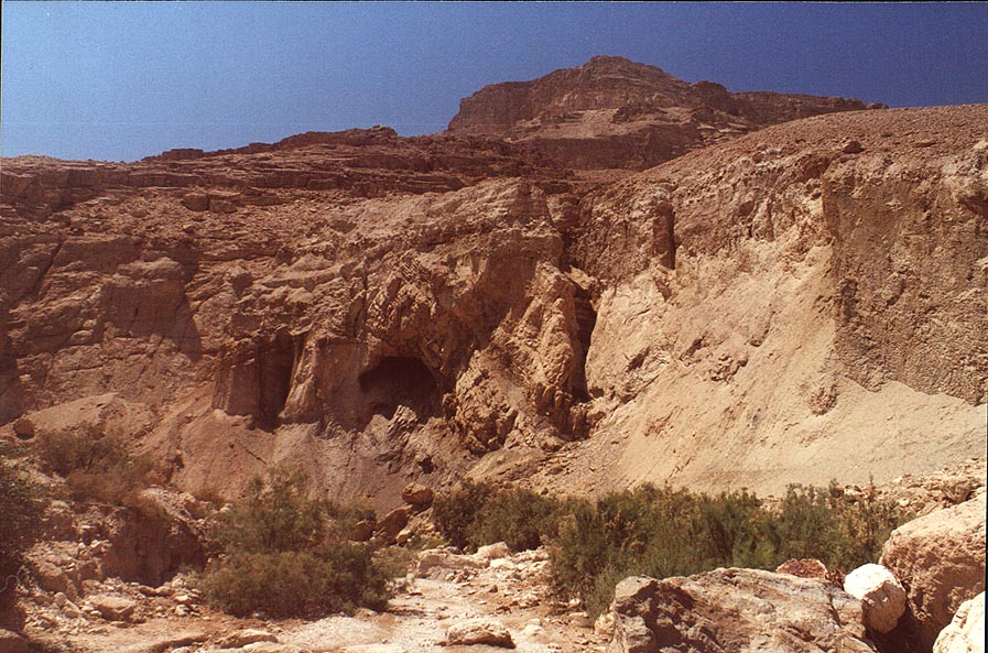 A cave at the entrance to Ein Bokek Canyon. The Middle East