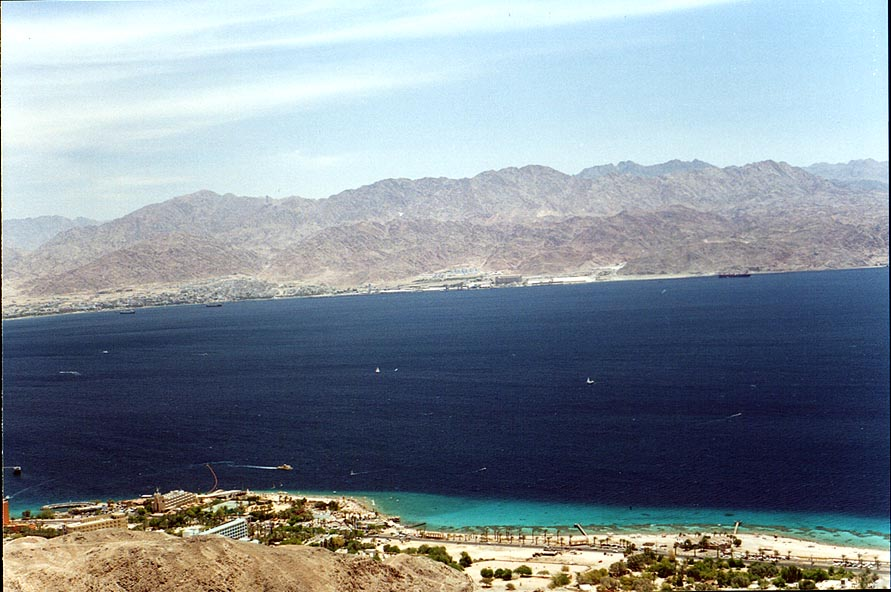 View of the Coral Beach Reserve in Eilat, Red Sea...a nearby mountain. The Middle East