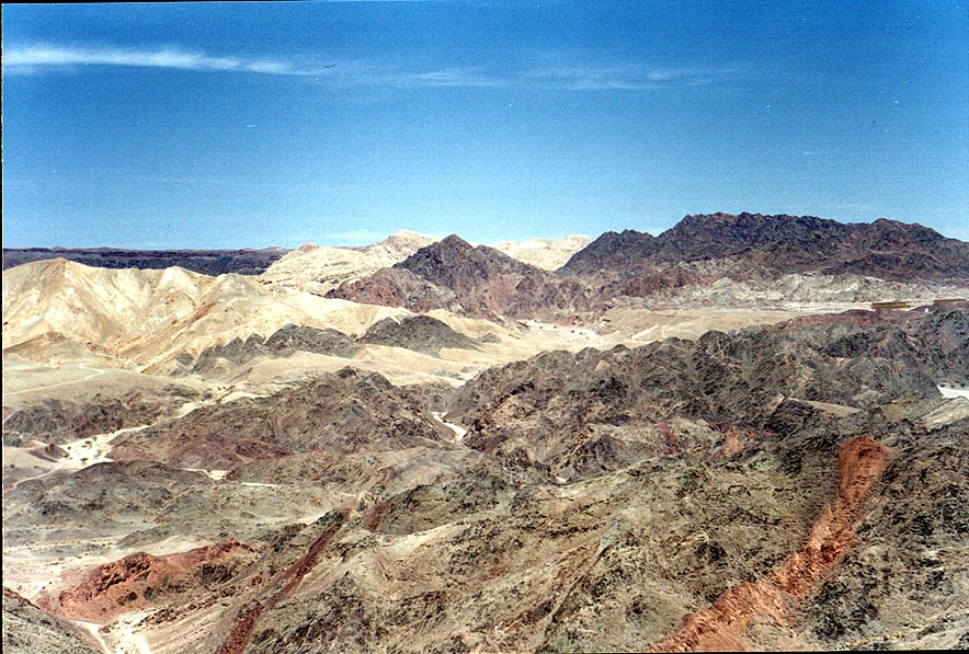 View of multicolored rock layers from Mount Tzefahot near Eilat. The Middle East