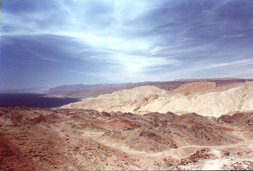 Red Sea and mountains in Egypt, view from Mount Tzefahot near Eilat. The Middle East